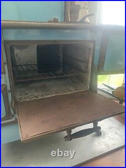 1908 Lake Side Foundry Blue Enamel Cast Iron Antique Wood Cook Stove Chicago