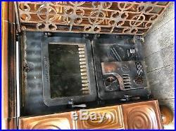 1982 German Waso Wood Burning Coal Fireplace Ceramic Stove Cast Iron