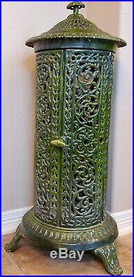 19th C French Art Nouveau Enameled Scrolled Cast Iron Stove 1800s antique decor