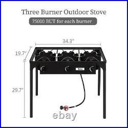 225,000 BTU Propane Stove 3 Burner Gas Outdoor Portable Camping BBQ Grill Picnic