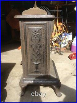 2 Antique Jeweled Cast Iron ODIN M. L. NYBERG & CO. Gas Heater, Parlor Stove