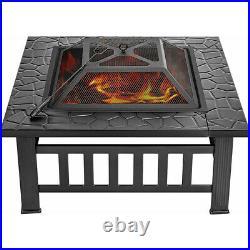 32'' Wood Burning Fire Pits Outdoor Heater Backyard Deck Patio BBQ Garden Stove