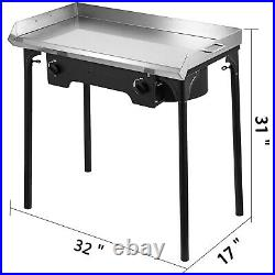 32x17 Flat Top Griddle Grill & Double Burner Stove BBQ Outdoor Camping Meal Pot