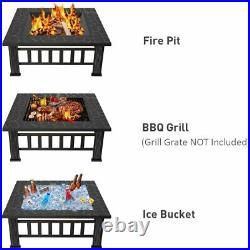 37 iKayaa Backyard Fire Pit Heate Wood Burning Patio Deck Stove Fireplace G4V2