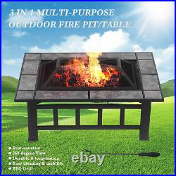 37 iKayaa Metal Fire Pit Backyard Patio Garden Oblong Deck Stove Fireplace J1B0