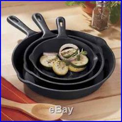 3 Piece Skillet Set Stove Oven Fry Pans Pots Gas Cookware Pre Seasoned Cast Iron