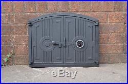 48 x 38 cm cast iron fire door clay bread oven doors pizza stove thermometer