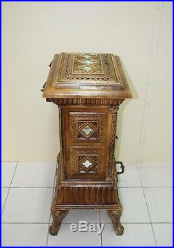 ANTIQUE COOK OVEN STOVE FIREWOOD CAST IRON & PORCELAIN FRANCE FRENCH EARLY XX Th