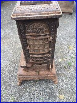 ANTIQUE Darby 22 CAST IRON Parlor Stove Ornate Coal Wood 1800s 1900s Early Rare