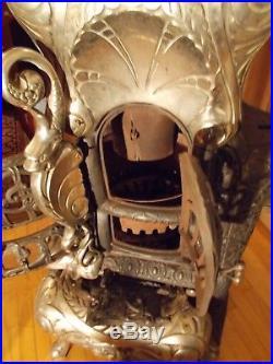 ART NOVELTY #13 Cast Iron Parlor Stove Dolphins Original Nickle