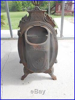 Antique 1876 Culter & Proctor Peoria, Cast Iron Parlor Wood Fire Place Cook Stove