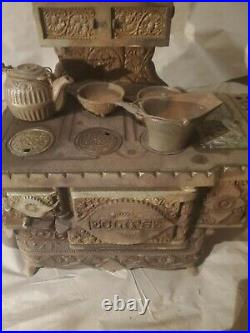 Antique 1895 Cast Iron Stove Eclipse Salesman Sample Victorian Oven LARGE RARE