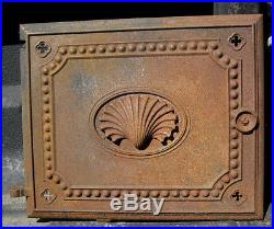 Antique Architectural Garden Cast Iron Sea Shell Wall Art Stove Door Plaque # 2