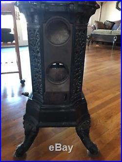 Antique Audemar Guyon Cast Iron French Parlour mixed fuel stove pre art deco