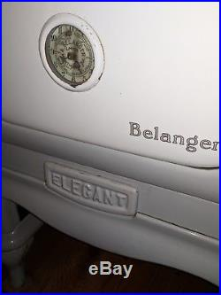 Antique Belanger Stove #904 Cast Iron and Porcelain Grey Coal Burning Stove