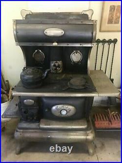Antique Canopy Fair Cast Iron Nickle Plate Stove RangeHigh Closet Wood or Coal