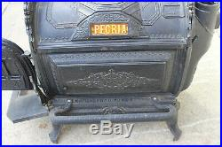 Antique Cast Iron Culter & Proctor Parlor Stove No. 27 + Ceramic Tile, Peoria
