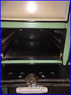 Antique Cast Iron Gas Stove in Good Working Condition 1930's Vintage Teal Ivory
