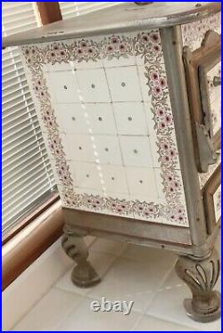 Antique Cast Iron Kitchen Stove with Original Art Nouveau Floral Tiles