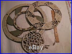 Antique Cast Iron Ornate Round Victorian Stove Pipe Register Grate Vent 3 Piece