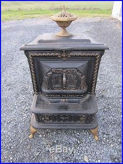 Antique Cast Iron Prize Franklin Parlor Stove No. 17, Excelsior Stove Works 1875