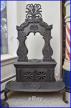 Antique Cast Iron Two-Column Albany Parlor Stove Rococo Revival