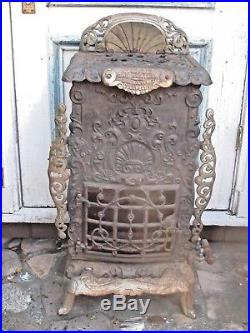 Antique Cast Iron and Nickel Gas Heater Stove c. 1916