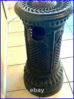 Antique French enamel cast-iron stove round parlor stove