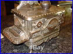 Antique Nickel cast iron toy cook stove J&E Stevens-15482
