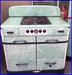 Antique Norge Green Porcelain/Cast Iron Stove Refrigerator 12/17