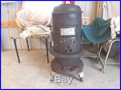Antique Original Round Oak Wood Burning Burner Cast Iron Stove 18-0-3 Vintage