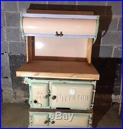 Antique Pittston Stove #904 Cast Iron and Porcelain Green Coal Burning Stove