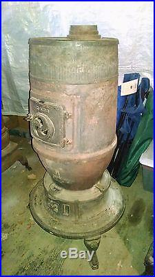 Antique Railroad Depot Cast Iron Wood Stove with Cook Top