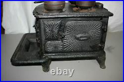 Antique Salesman Sample Cast Iron Stove With Cooking Implements