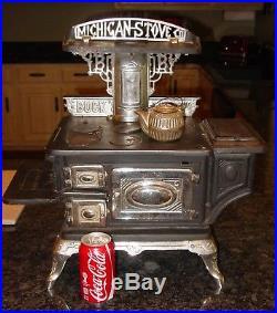 Antique Salesman sample large cast & nickel BUCKS cook stove-15481
