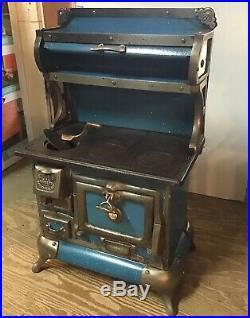Antique Salesmens Sample Karr Range Co. Childs Stove Blue & White Enamel