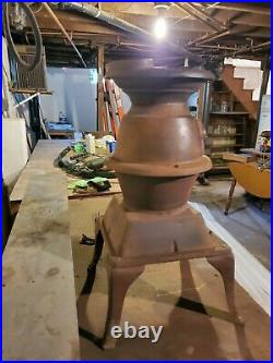 Antique Small Cast Iron Atlantic Stove Works Pot Belly Coal Or Wood Stove