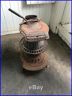Antique Vintage Parlor Stove Pot Bellied Little Giant Repurpose Cast Iron 1868