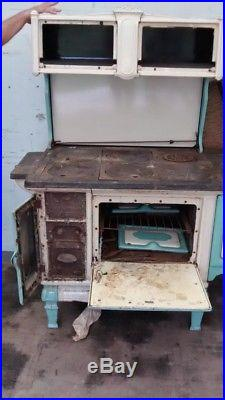 Antique Vintage Wood Burning Cast Iron Enamel Stove DIANA The Auto Works ILL
