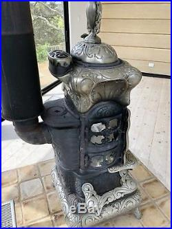 Antique Wood Burning Cast Iron Parlor Stove