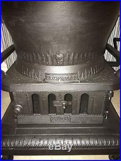 Antique cast iron pot belly stove, Mt Penn Stove Works Express 22 B