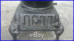 Atlanta Stove Works #60 Cast Iron Pot Belly Coal Wood Burning Vintage Stove
