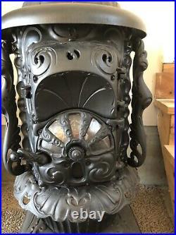 Beautiful Ornate Antique Cast Iron Wood Coal Parlor Stove Steampunk Parts
