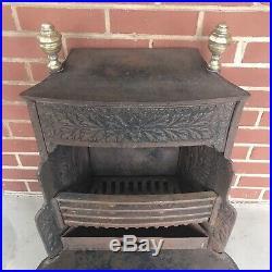 Benjamin Franklin Style Antique Cast Iron Stove Coal Basket Fireplace Insert