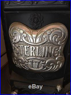 Big Antique Cast Iron Pot Belly Stove! Sterling Brand #17 EXCELLENT
