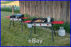 Camp Chef Griddle Covers 2 Burners On 2 Burner Stove Cast Iron grease drain14x32