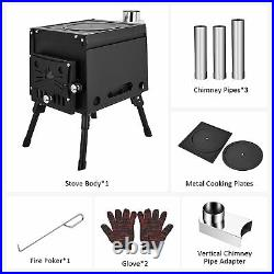 Camping Tent Stove with Chimney Pipes, Portable Wood Burning Outdoor Stove
