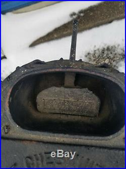 Cast Iron Antique Small 1924 Chestnut Coal Black Barrel Stove Burner Handle