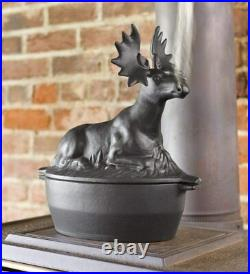 Cast Iron Moose Wood Stove Steamer Humidifier Pot Moisture Water Rustic 3 QT New