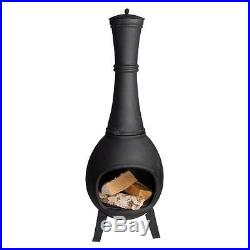 Cast Iron Wood Burning Chiminea Classic Black Stove Pipe Design 41x15x15